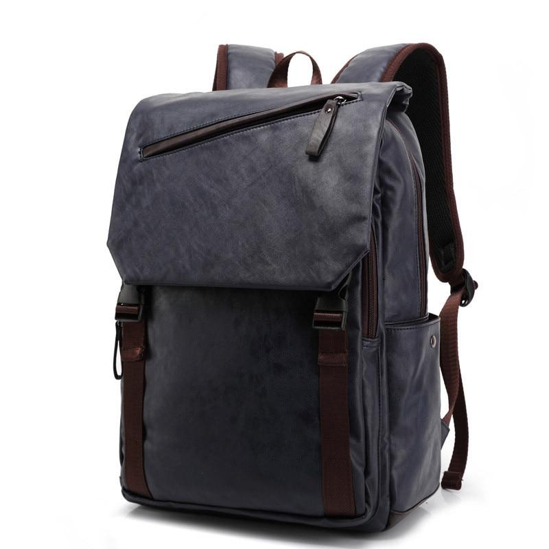 Men PU Leather Business Travel Laptop Backpack High Quality Casual School Backpacks Daypack Mochila Rucksack prince travel men s backpacks bolsa mochila for laptop 14 15 notebook computer bags men backpack school rucksack business