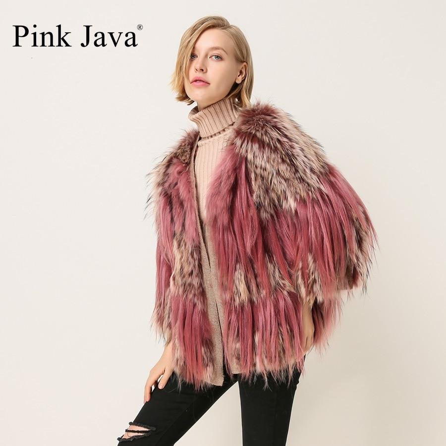 ROZE JAVA QC1869 nieuwe collectie gratis verzending vrouwen mode jurk echte wasbeer bontjas real geit fur jacket-in Echt Bont van Dames Kleding op  Groep 1