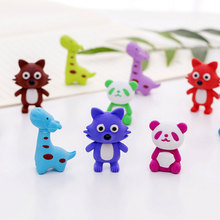 4pcs/lot Colored animals Rubber Pencil Eraser Students Stationery School Supplies Material Escolar Erasers For Kids