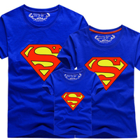 New 2016 Family Look Superman T Shirts Summer Family Matching Clothes Father Mother Kids Cartoon Outfits