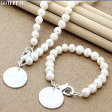 Pearl 8mm Chain Necklace Bracelet 925 Silver Charm Round Women Jewelry Natural Pearls Necklace Bracelet Jewelry Set pearl 8mm chain necklace bracelet 925 silver charm round card women jewelry natural red pearls necklace bracelet jewelry set