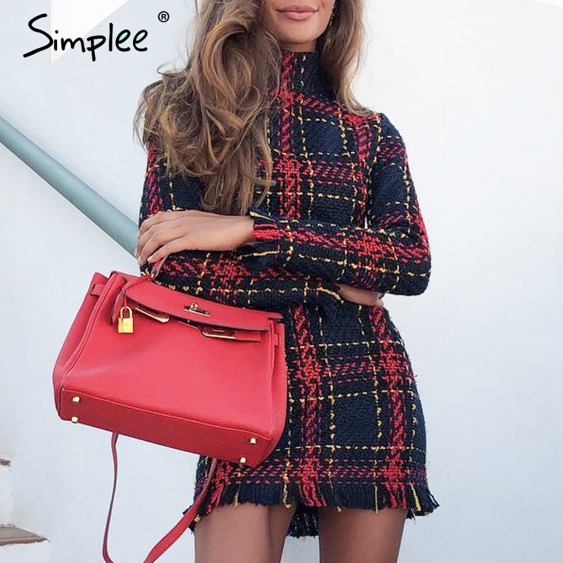 Simplee Elegant plaid tweed women dress winter Office lady long sleeve warm christmas dress Vintage sexy autumn dresses festa