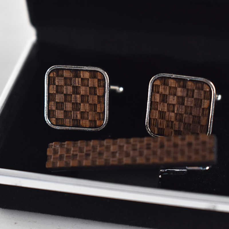 Yeni tasarım Gemelos para hombre camisa mens için kol düğmeleri takı ızgara kravat klip kravat iğnesi seti