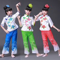 Children Dancewear Children Folk Dance Costume Yangko Dance Clothes Classic Female Fan Dance Drum Performances