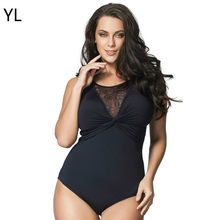 Bikini Pakaian Renang Wanita 2018 One Piece Hitam Sexy Lace Berongga Out Swimsuit One Piece Monokini Thong Mendongkrak Ditambah Ukuran 6XL(China)