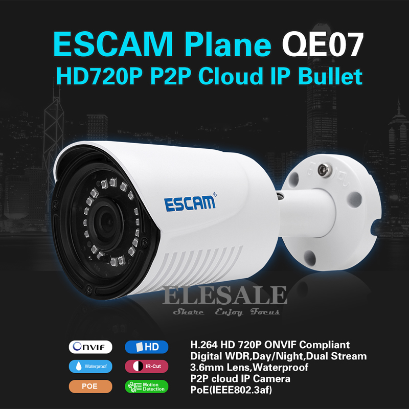 ФОТО ESCAM QE07 POE IP Camera Wifi HD 720P Surveillance Camera Bullet Night Vision Motion Detection Onvif For Home Security