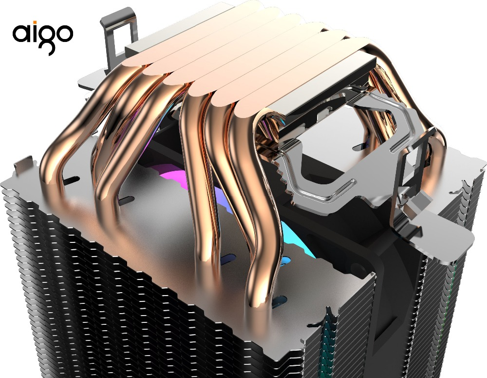 Aigo CPU Cooler PC Heatsink with 6 Direct Contact Heat Pipes & 90mm PWM LED Fan Computer CPU Air Cooling Cooler game fan