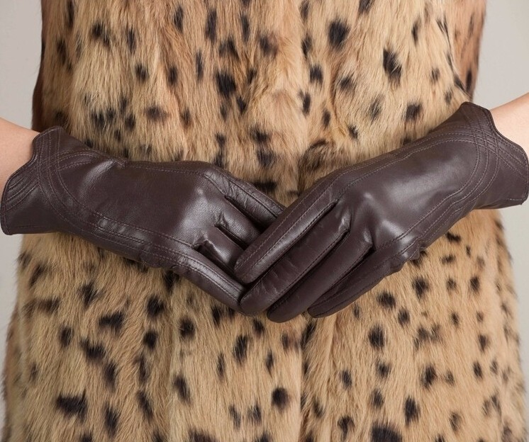 High Quality Women Genuine Sheepskin Winter Women Leather Gloves Lady knitting lined Warm Winter Mittens women gloves 39