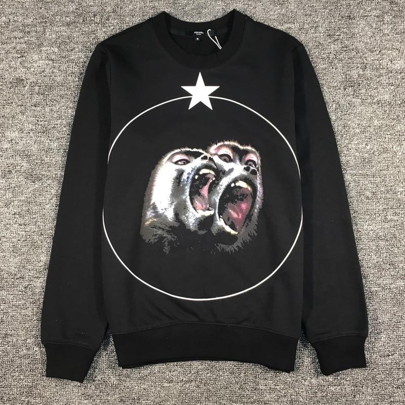Baboons Printed Mens Hoodies O-Neck Pullover Sweatshirts Full Cotton Casual Fleece Streetwear Hoodie Sudaderas Para Hombre W14