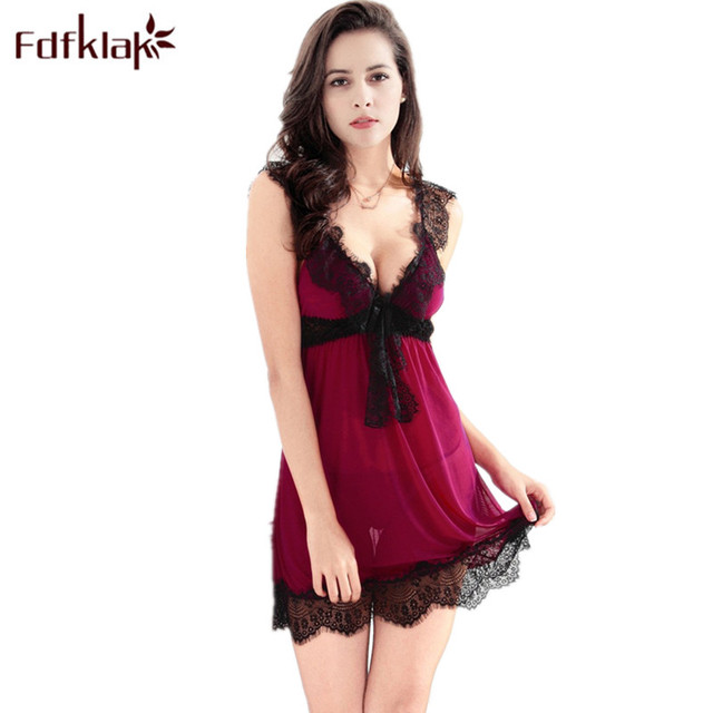 de734706cb1 Fdfklak Summer Dress Sexy Women Night Dress Sleepwear Nightgowns Homewear For  Women Nightgown Female Night Shirts Nightwear E132