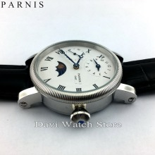 Parnis 42mm embossment GMT hand winding roman numberwhite Dial mens watch