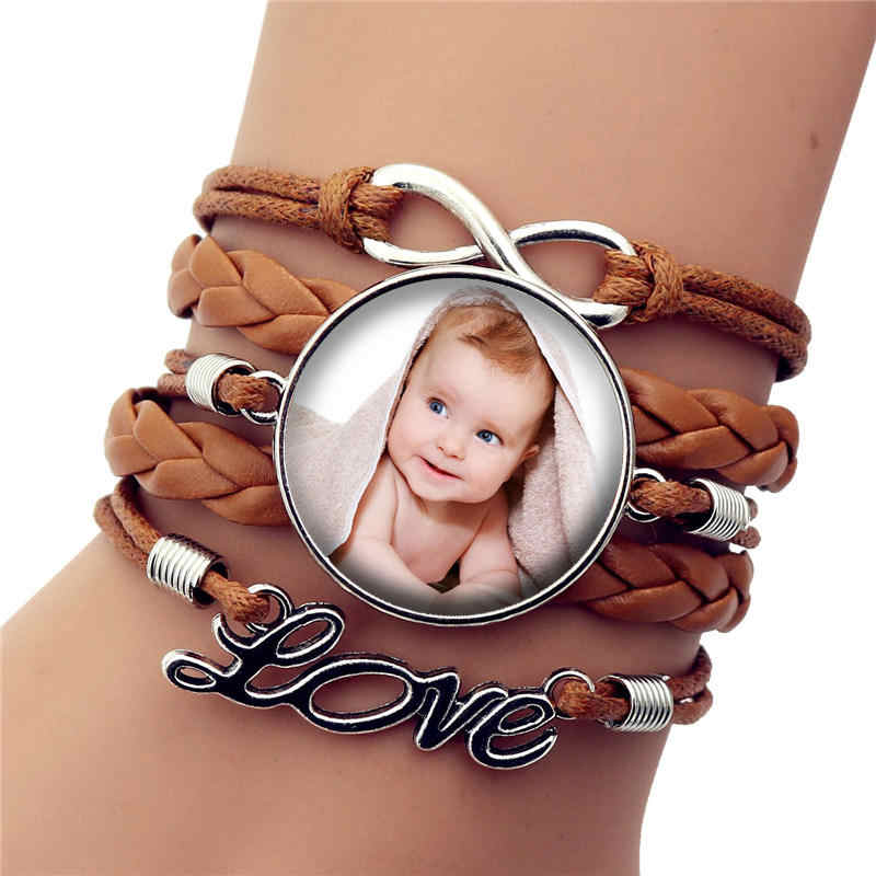 2019 Personalized Custom Handmade Leather Bracelet Photo of Your Baby Child Mom Dad Grandparent Loved Gift for Family Jewelry
