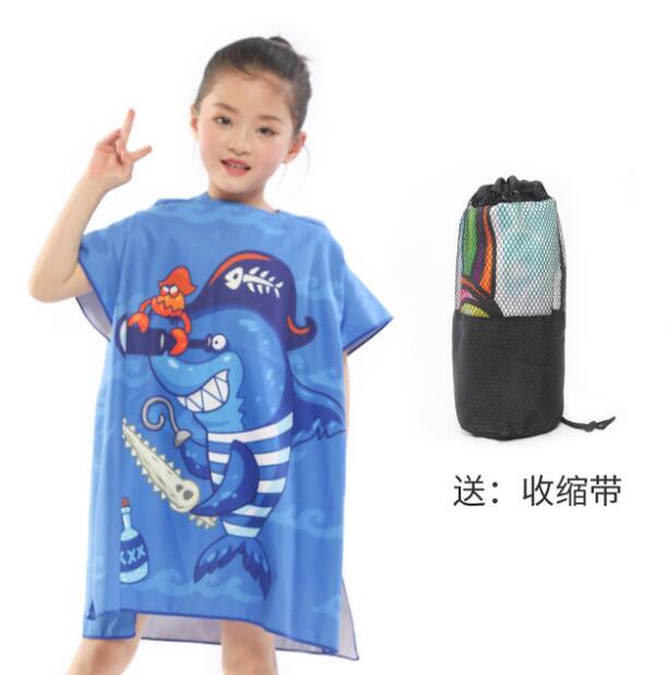 Новое поступление, Лидер продаж, летнее портативное пляжное банное полотенце из микрофибры с мультяшным рисунком, купальное полотенце с крышкой, быстросохнущая Мочалка для детей, 83*60 см - Цвет: 2