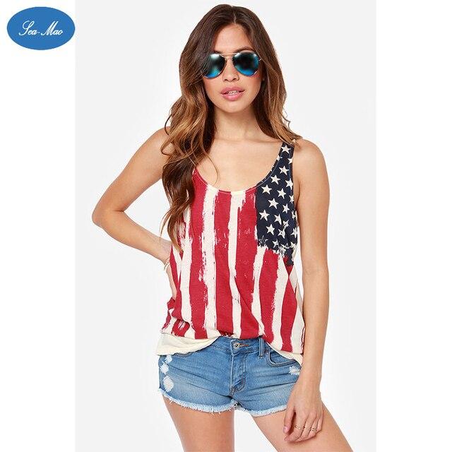 Море мао Новый Летний Стиль Sexy Топы Женщины Американский Флаг Печати Шить Жилет Без Рукавов Полосы Высокое Качество Топы Рубашка