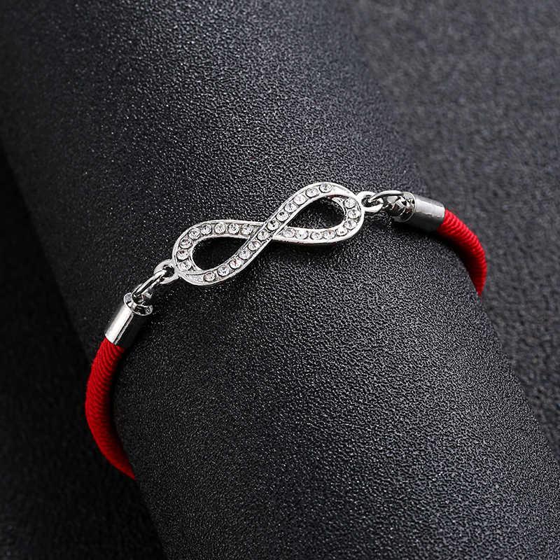 ファッションデジタル 8 チャクラインフィニティ編み女性ブレスレットラッキー恋人赤文字ロープ糸卸売