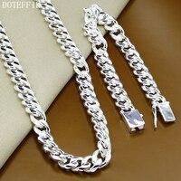 Classic Sideways 10mm Men Chain Necklace Bracelet 925 Silver Color Necklace Bracelet Set Jewelry Gift 136g