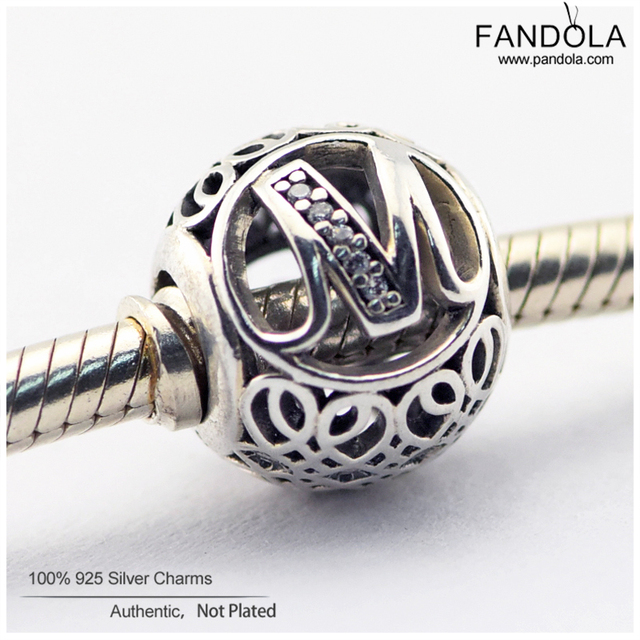 744f210ef Letter M Round Beads 925 Sterling Silver Alphabet Vintage Charm Beads for  Jewelry Making Fits Pandora Charms Bracelet Berloque