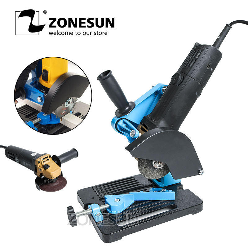 ZONESUN Free shipping Angle Grinder Stand Grinder Holder Support Cast Iron Base Bracket Holder for 115-125mm 125 angle grinding frame angle grinder holder stand bracket support angle grinder conversion cutter accessories for 115 to 125mm
