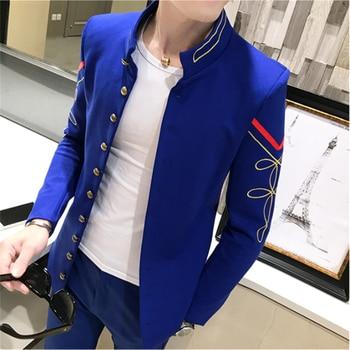Classic Stand Collar Suit Men Jacket Asian Size S M XL XXL Business Banquet Men Dress Jacket Slim Design Men Wedding Suit Jacket
