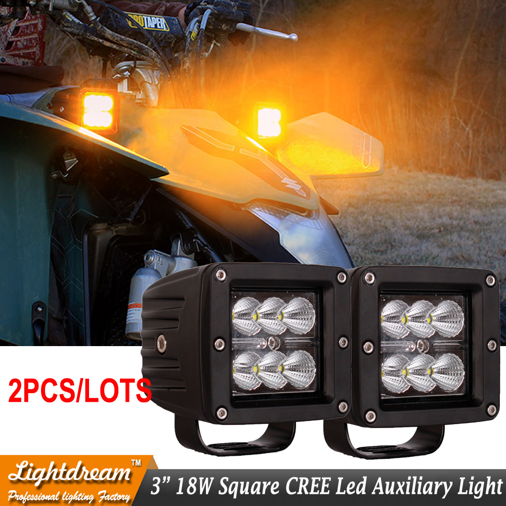 Pair 6LED Square Flood Spot Beam 18W 12V 24V <font><b>led</b></font> Work Light Flood Lamps Offroad Car Truck Boat Fog Driving Lights with cover image