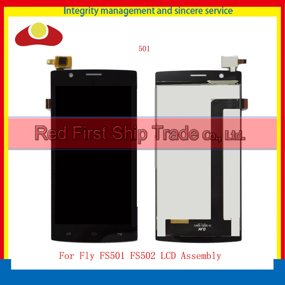 High Quality For Fly FS501 FS502 Touch Screen + LCD Assembly Digitizer Sensor Front Glass Lens Panel Tracking code Black White  high quality for fly iq4417 touch screen lcd assembly digitizer sensor front glass lens panel free shipping black white