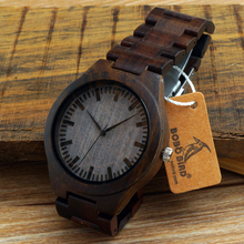 BOBO BIRD Ebony Round Vintage Wooden Watches With Wooden band or Leather Strap Japanese motion Quartz Montre Homme in Gift Box