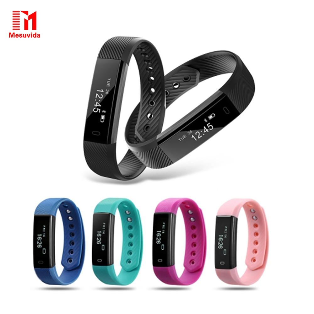Best Professional Electronics Store ID115 Smart Bracelet Fitness Tracker Step Counter Activity Monitor Band Alarm Clock Vibration Wristband For Iphone Android Phone