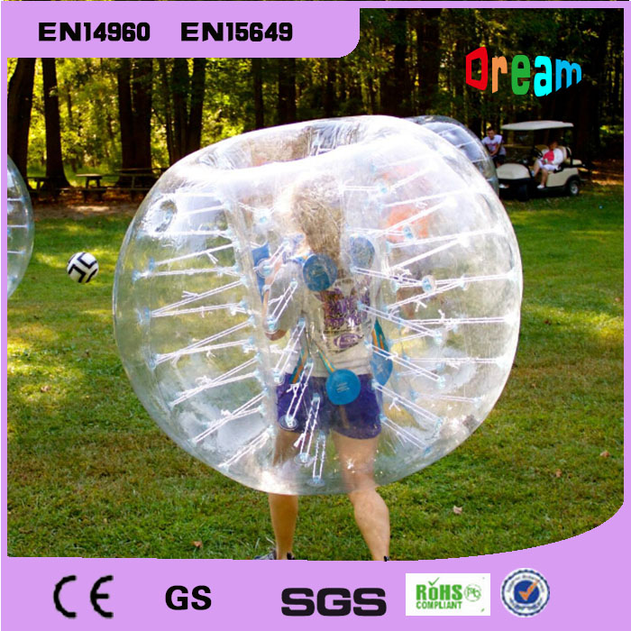 Gratis forsendelse PVC Outdoor Games Bubble Soccer Plastic 1.5m Opblåsbar Bubble Football Body Zorbing Ball Bubble Soccer Ball