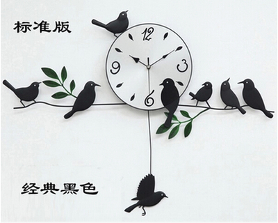 Bird wall clock 2016 wall clock home decoration decor single clocks painting watch morden design birds unique gift craft t65 in wall clocks from home