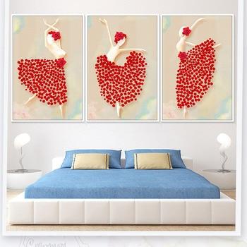 Bonito vestido de Roseleaf rojo de bellinina con pintura de lona romántica nórdica carteles de pared para decoración de dormitorio infantil