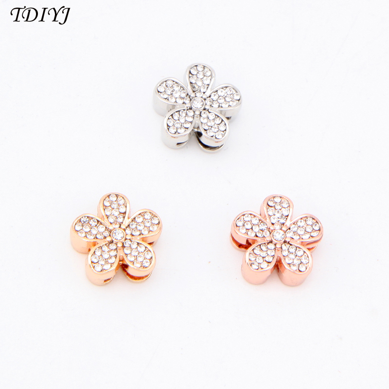 TDIYJ Jewelry 6Pcs Travel Collective Crystal Flower Keeper Charms for Gold Color Mesh Bracelet Spring Gift