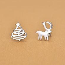 Женские серебряные серьги гвоздики с животными в виде рождественской