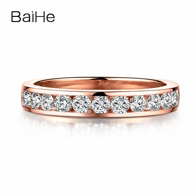 BAIHE Solid 18k Rose Gold(AU585) 0.6ct SI/H Full Cut 100% Natural Diamonds Engagement Wedding Women Men Fine Jewelry Gift Ring