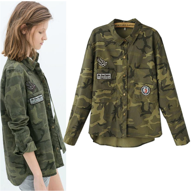 all-match fashion women blouse casual military tops 2016 Camouflage brand shirt Free shipping