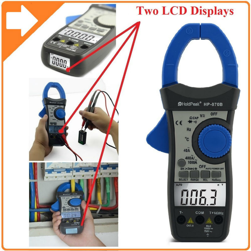 HoldPeak DC/AC Dual Display Digital Clamp Meter Multimeter Resistance Capacitance Frequency Duty Cycle Relative Value 870B