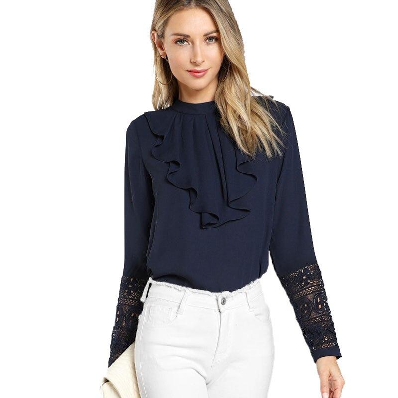 Navy blue ruffle blouse