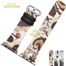 Moda Elegante pulsera de reloj de LA PU band para apple facebook patrón cinturón de correa 42mm correa de reloj de pulsera relojes de pulsera banda