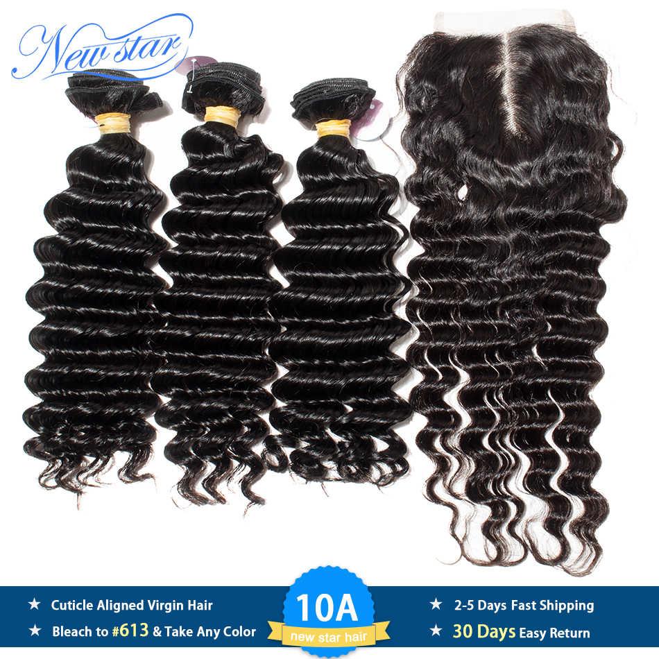Глубокая волна 3 пучка уток с закрытием шнурка бразильские девственные толстые человеческие волосы плетение новая звезда 10A необработанные накладные волосы и закрытия
