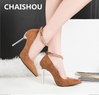 CHAISHOU 2019 new spring Women High Heel Metal Ball Chain Pumps Lady Sexy Pointed Toe Wedding Strap Pumps Scarpins Shoes B 87