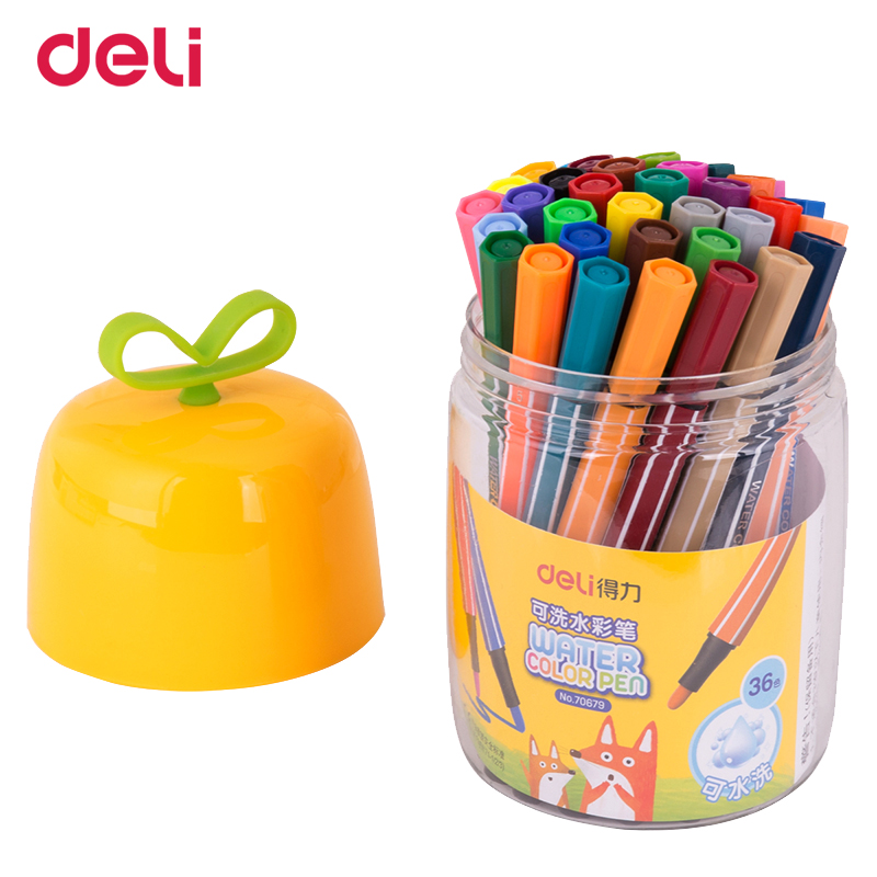 Deli 12/18/24/36 colors quality watercolor marker pen for school kid drawing supply manga comic art marker set with washable ink deli s557 marker pen