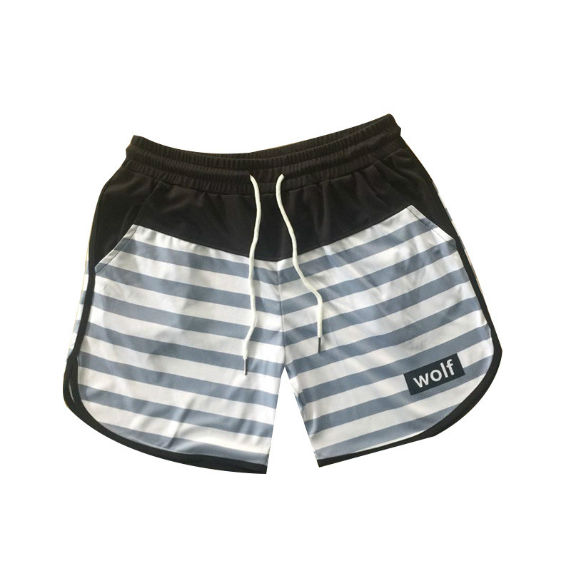 Zogaa Gyms Fitness Loose Mesh Quick Dry Bodybuilding Crossfit Sportswear Striped Patchwork Casual Shorts Male Jogger Workout