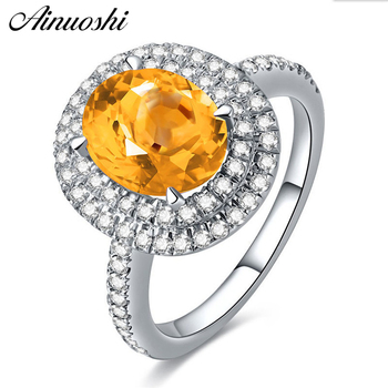AINUOSHI Natural Citrine Double Halo Ring 3ct Oval Cut Gems Engagement Party Women Jewelry 925 Sterling Silver Geometric Ring