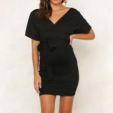 Womens V-Neck Pregnant Hollow Out Short Sleeve Solid Maternity Dress