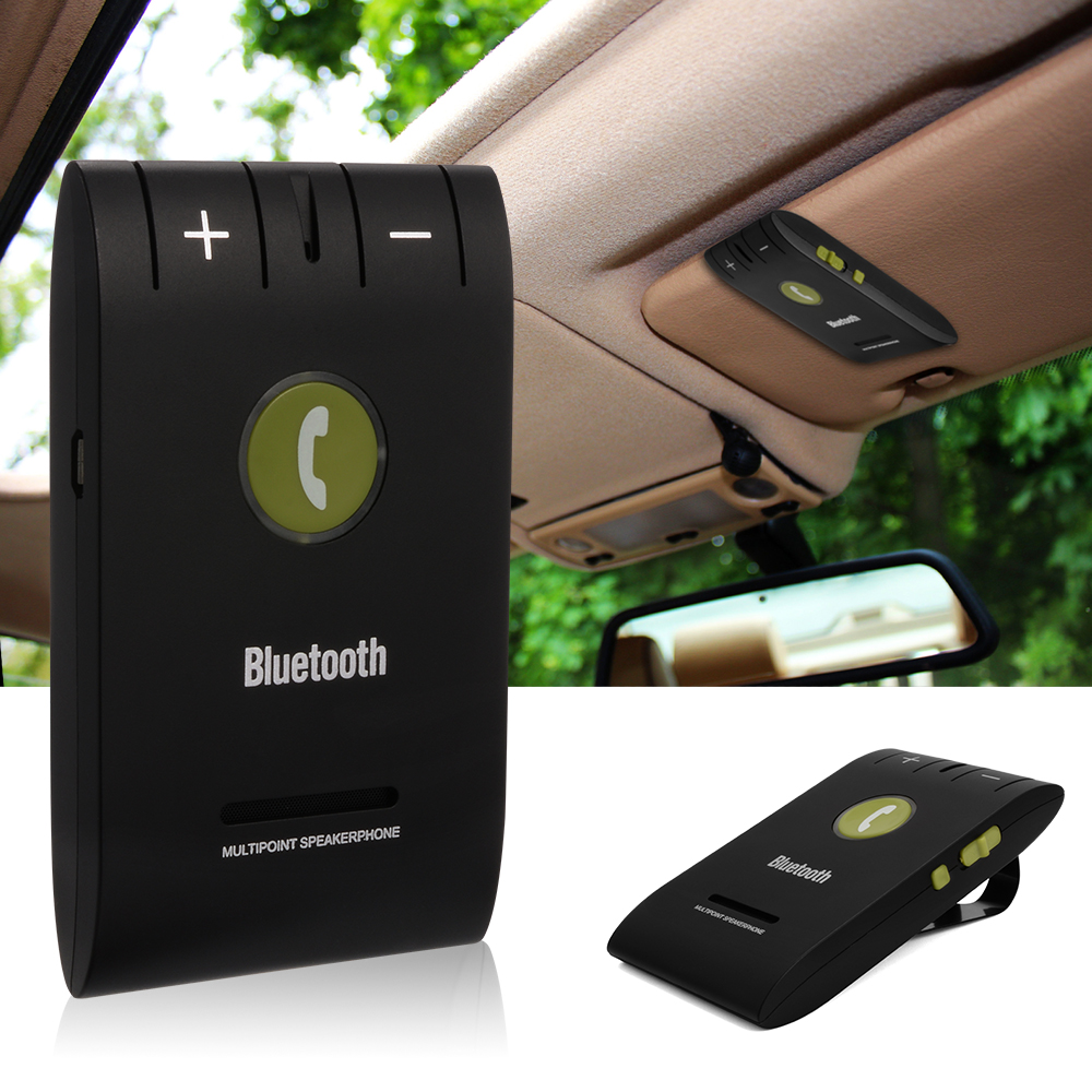 imágenes para Universal Inalámbrico Bluetooth 4.0 Auto Car Kit para el iphone Samung teléfono Manos Libres de Teléfono MP3 Music Speaker Set Sun Visor Clip MA361