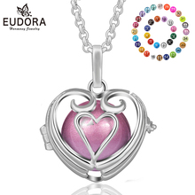 Unique Female Long Necklace Harmony Ball Heart Design Locket Cage Pendant 20mm Chian Colorful Chime Mexican Bola Jewelry