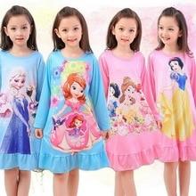 Детское платье для сна на весну-осень, ночная рубашка для маленьких девочек, детская ночная рубашка принцессы с длинными рукавами и рисунком, YW376