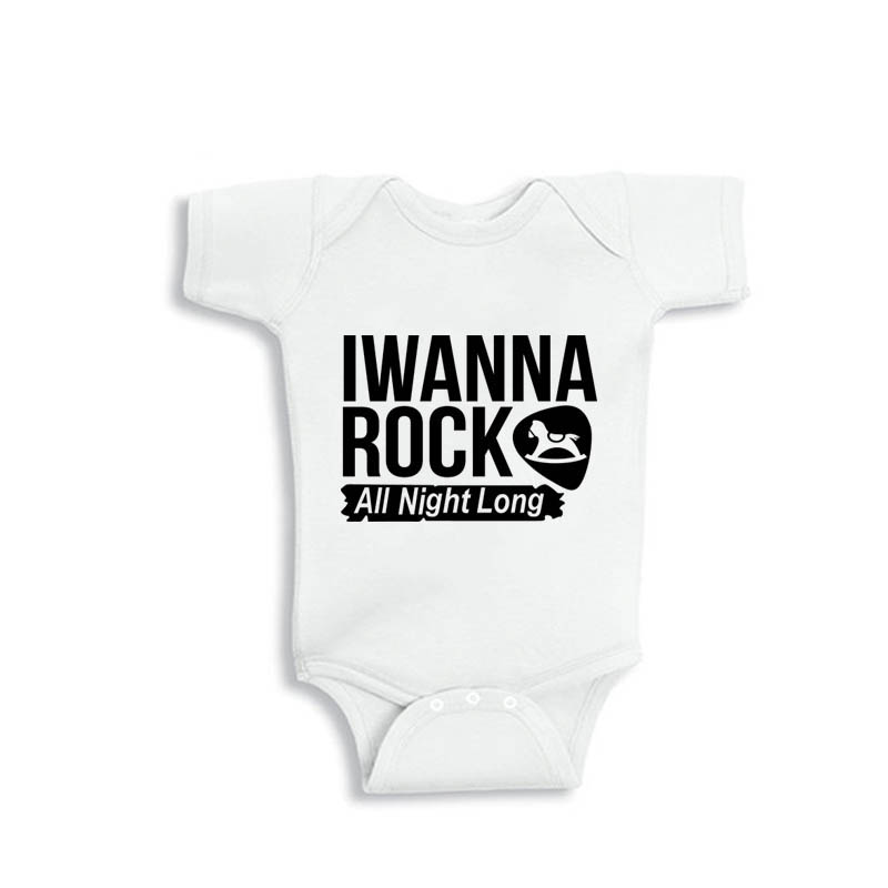 YSCULBUTOL 2018 New Summer I Wanna Rock All Night Long White Short Sleeve Unisex Baby Bodysuit