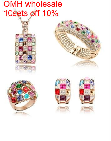OMH wholesale Luxurious queen 18KT white gold Austrian crystals fashion Earrings + necklace + Ring + Bracelet Jewelry set TZ01