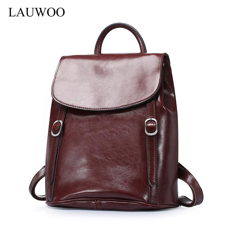 LAUWOO new fashion women oil wax cow leather backpacks for teenage girls female vintage backpacks large capacity school bags цена и фото