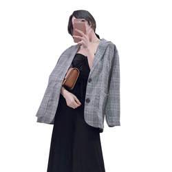 Гайавате Винтаж Блейзер и куртки Для женщин осень свободные плед Повседневное пальто корейский Однобортный пиджаки BL041